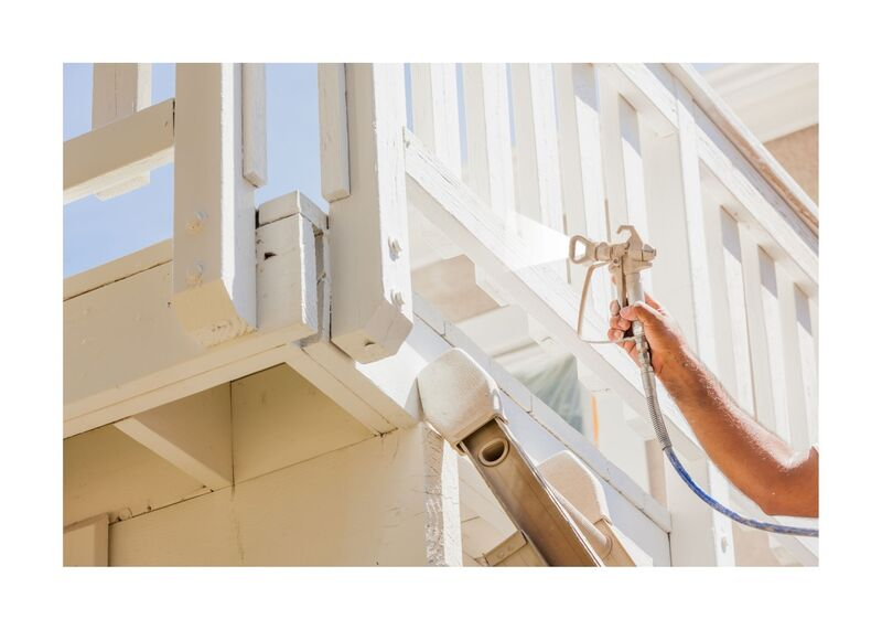 New Westminster Painting - Spraying white deck railings